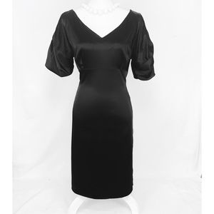 Antonio Melani black V-neck dress Puffy Sleeves 14